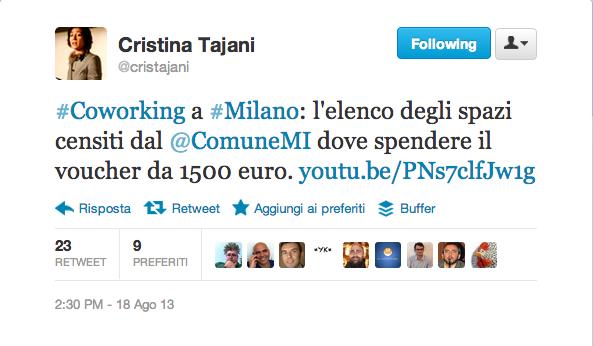 Cristina Tajani, assessore al Lavoro, su Twitter