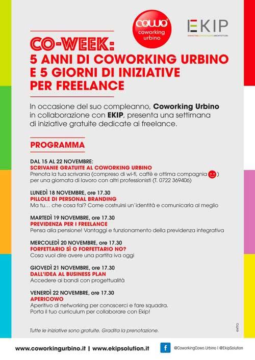 Coworking Week Urbino Programma